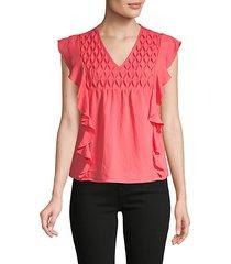 flutter-sleeve cotton-blend top