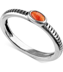 american west orange spiny stack ring in sterling silver