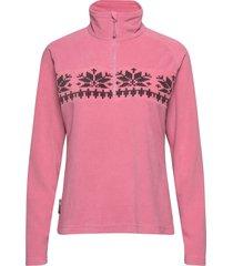 hildastranda microfleece half-zip sweat-shirt tröja rosa skogstad