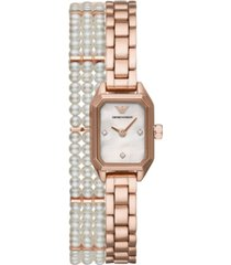 emporio armani women's rose gold-tone stainless steel & freshwater pearl double-wrap bracelet watch 25mm