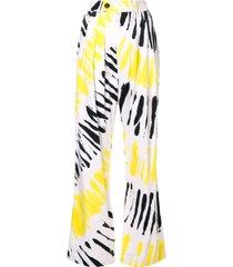 strateas carlucci tie-dye palazzo trousers - yellow