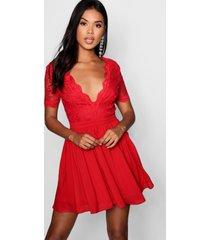 skater jurk met kanten top, rood