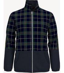 tommy hilfiger men's essential plaid zip sweatshirt sky captain - m