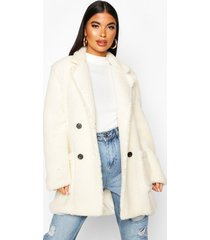 petite double breasted teddy coat, ivory