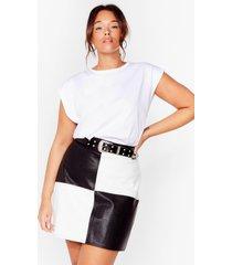womens check you out plus mini skirt - black