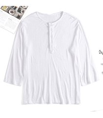 incerun camiseta delgada informal de manga larga con botones sueltos y redonda cuello para hombre