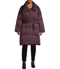 plus belted puffer coat
