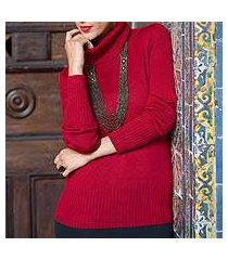 alpaca blend sweater, 'ravishing ruby' (peru)