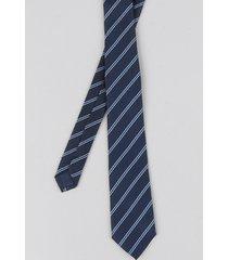 gravata masculina listrada em jacquard azul marinho