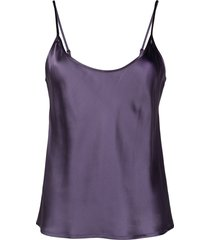 la perla camisole & shorts silk pyjama set - purple