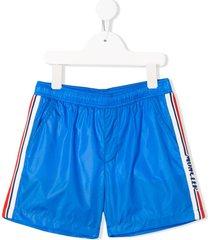 moncler enfant side stripe detail double pocket swim shorts - blue