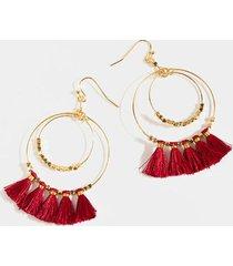 shelly circle tassel earrings in burgundy - burgundy
