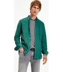 tommy hilfiger slim fit stretch corduroy shirt sea steel - xxl
