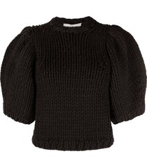tibi cropped chunky-knit top - black