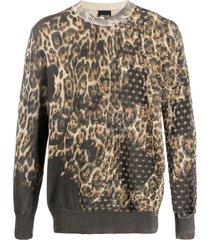 just cavalli animal print pullover - neutrals