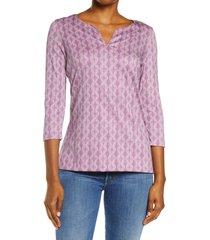 women's l.l.bean print split neck pima cotton tunic, size medium - purple