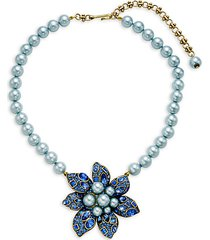 faux pearl & crystal bold flower pendant necklace