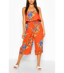 floral print strappy overlay jumpsuit, orange