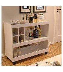 aparador bar com rodizios 4050 cor pérola