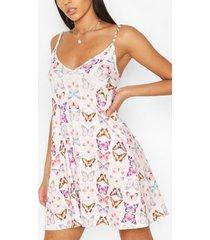 butterfly strappy swing dress, ivory