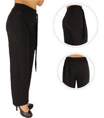 pantalón acetato diseño estilizado tiro alto - mujer