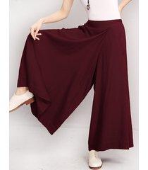 o-newe pantaloni a vita elastica a gambe larghe in colore a tinta unita