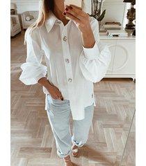 botón blanco diseño classic cuello diseño blusa de manga larga