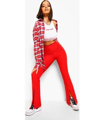 strakke long line broek met voorsplit, red