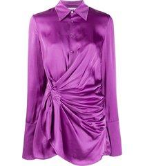 the attico twisted shirt dress - purple