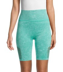 nine west women's high-waist seamless bike shorts - jade - size s/m