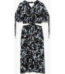 proenza schouler white label shadow print cut out dress seal blue/black shadow print 8