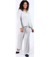 pijama feminino plus size camisa com vivo contrastante e bolso manga longa cinza mescla claro