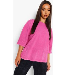 acid wash gebleekt oversized t-shirt met naaddetail, raspberry