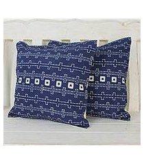 batik cotton cushion covers, 'indigo chains' (pair) (thailand)