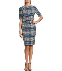 st. john women's ribbon plaid knit bateau neck sheath dress - vivid blue - size 6