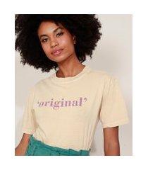 "t-shirt feminina mindset original"" manga curta decote redondo bege"""