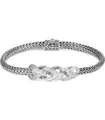 'asli classic chain' diamond link charm silver chain bracelet