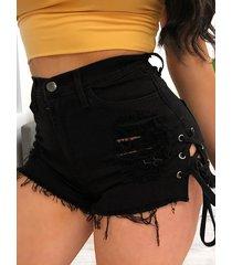 pantalones cortos informales con cordones diseño de cintura media