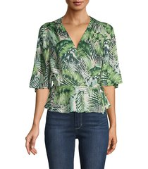 ava & aiden women's leaf-print kimono wrap top - blush paradise - size xs