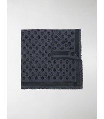 alexander mcqueen skull-embroidered fringe-edge scarf