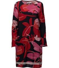 moss crepe dress w. branch print & jurk knielengte rood coster copenhagen