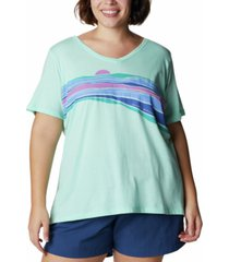 columbia women's plus size bluebird day relaxed v-neck top