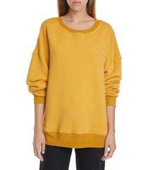 women's simon miller rista logo embroidered sweatshirt, size x-small - yellow