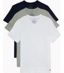 tommy hilfiger men's cotton classics v-neck undershirt 3pk grey/white/black - xl