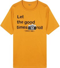 camiseta m/c con screen let the good times roll color amarillo, talla l
