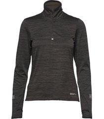 grid halfzip t-shirts & tops long-sleeved zwart craft