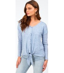 jenn caged back button top - light blue