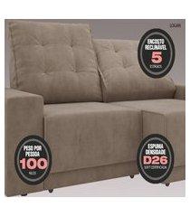 sofá 3 lugares net logan assento retrátil e reclinável marrom 2,09m (l)