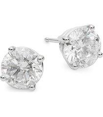 diana m jewels women's 14k white gold & 3 tcw diamond stud earrings