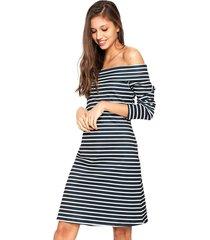 vestido fiveblu curto listrado azul-marinho/branco